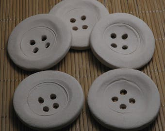 "White Handmade Ceramic Bisque Buttons 5cm (2"") Ornaments - Decoration for Hats - Buttons for Jewelries - Craft Supplies"