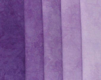 Hand Dyed Fabric - Purple -  Color Wheel Basics Shades