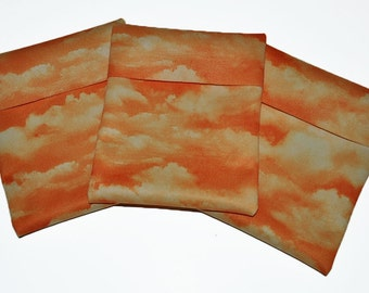 Orange Clouds PUL Pad Wrapper/ Mini Travel Wet Bag
