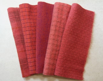 Pinkish - Red - Watermelon Hand Dyed Felted Wool in a Beautiful Collection a Perfect Rug Hooking and Applique Wool