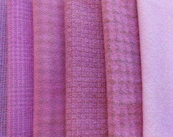 Pink Hand dyed felted wool in a range of Bright Pink Tones Perfect for Rug Hooking, Applique, Quilting, Sewing by Quilting Acres