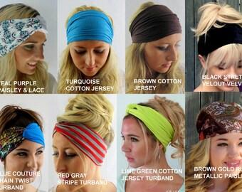 Head Scarf Yoga Wide Headband Wrap Choose ANY THREE - Cotton Jersey Satin chiffon Workout HeadBand Turban Head Wrap - 40 Colors