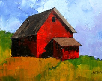 Red FARM BARN Impressionist Painting California Plein Air Landscape Lynne French 12x16