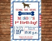 Boy Puppy Dog Labrador Lab Gingham Stripe Paw Print Birthday Party  Invitation - DIGITAL FILE