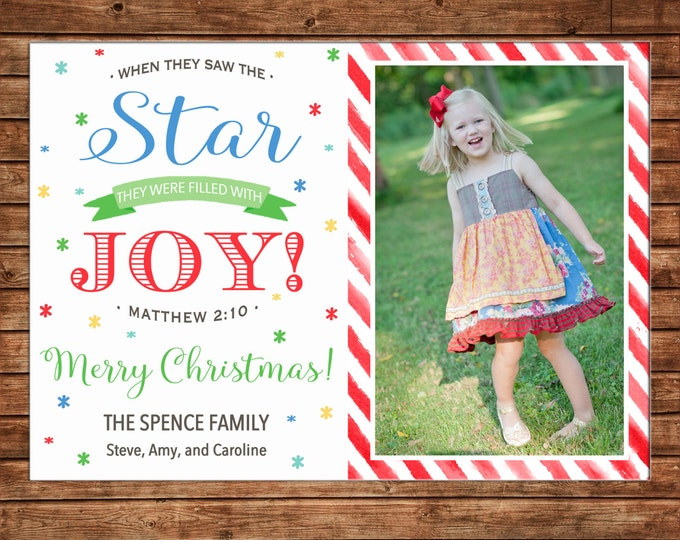 Christmas Holiday Photo Card Watercolor Stripe Whimsical - Can Personalize - Printable File or Printed Cards