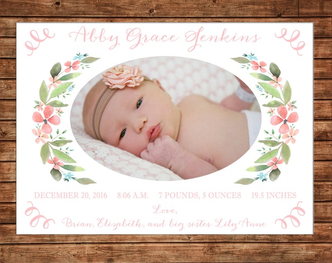 Photo Picture Baby Announcement Card Watercolor Flowers Floral Laurel Wreath Pink Peach Teal - Digital File