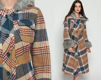 HOODED Wool Coat 70s Plaid Jacket Hoodie FAUX FUR Trim Hood Hippie Mod Vintage Boho Hipster Jacket Womens Bohemian Tan Blue Small