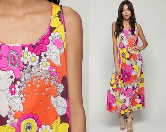 Long Nightgown Lingerie 70s Maxi Slip Dress Floral Nylon PSYCHEDELIC Nightie Hippie Boho Flower Power Vintage 1970s Tent Medium