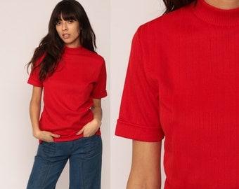 Retro Shirt 70s TURTLENECK Short Sleeve Shirt Red Tee Mod Top Nerd Geek Hipster Tshirt High Neck Plain Medium