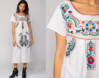 MEXICAN Embroidered Dress Midi Boho Cotton Tunic Hippie Floral Ethnic Bohemian White Vintage Embroidery Rainbow Small Medium