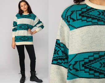 Pendleton Sweater Boho Sweater WOOL 80s Aztec Tribal Geometric Print Slouchy Southwestern 1980s Bohemian Vintage Pullover Jumper Knit Medium