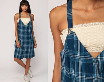 Overall Dress 90s GRUNGE Jumper Mini Blue Plaid Dress Pinafore Suspender 1990s Vintage Checkered Print Button Up Medium