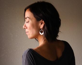 Maya earrings - sterling silver hoop tribal Mexican boho inspired earrings
