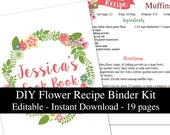 Flowers printable recipe binder kit editable instant download wreath recipe book pink green DIY recipe organizer PDF