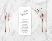 The Evelyn Romantic Calligraphy Wedding Menu Card