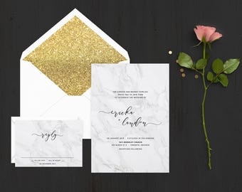 The 'Sybil' Romantic Marble Calligraphy Wedding Invitation Suite (Sample)