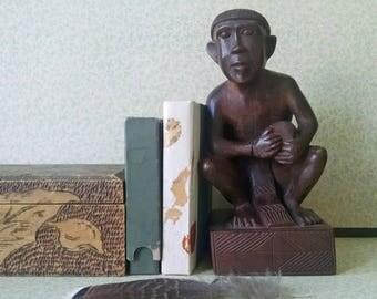 Vintage Drummer Man Wood Carving Hand Carved Figurine Sculpture