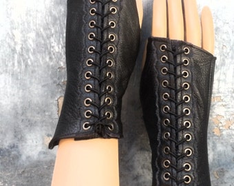 Black Leather Steampunk Short Fingerless Gloves with Antiqued Brass Eyelets and Black Lacing