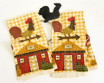 Vintage 1960s Linen Kitchen Tea Towel Set, Rooster Early American Autumn Colors Yellow Red Green Farmhouse Cottage