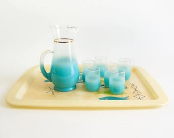 Vintage 1950s 60s Blendo Turquoise Frosted Juice Glasses and Juice Carafe Set VGC / Service for 6