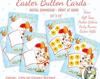 Easter Lamb Button Cards Digital Download Printable Vintage Style Pocket Pals Letters Scrapbook Party Favors Gift Tags Image Sheet