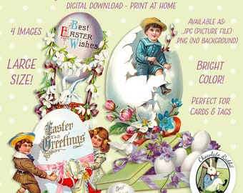 Vintage Easter Clip Art Die Cuts Digital Download Printable Graphic Scrapbook Card Tag Images Clipart Fabric Transfer Decal Collage Sheet