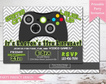 Gamer Birthday Invitation with bonus double sided design - Print Your Own