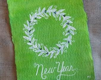 New Year - Small, Original Watercolour