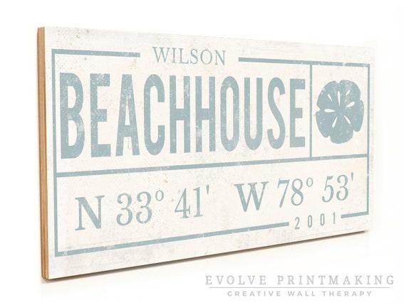 Beach Decor. Beach Signs. Beach House Decor. Beach House Art. Custom Coordinates. Wood Sign Print. Family Name Sign. Large Wall Art Print.