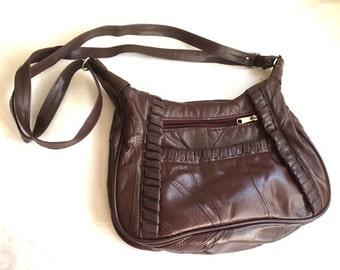Vintage OXBLOOD RED Leather Purse / 70s 80s Burgundy PATCHWORK Handbag