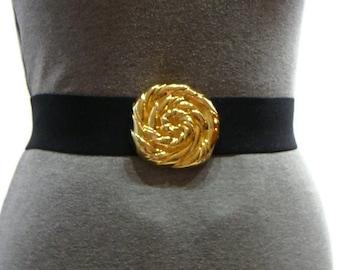 Vintage Stretch Belt Vintage Gold Buckle Stretch Belt Womens Elasticated Belts Stretch Belts For Women Black and Gold Waist Belt