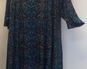Plus Size Tunic, Coco and Juan, Plus Size Asymmetric Tunic Top Blue Vintage Floral Print Traveler Knit Size 2 (fits 3X,4X)   Bust 60 inches