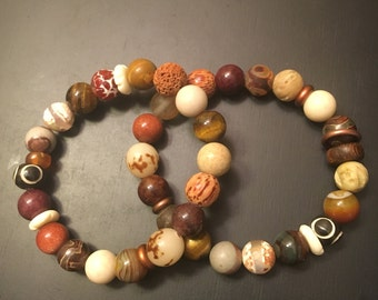 Gumbo Collection | Bracelets | Brown & Cream | FREE SHIPPING