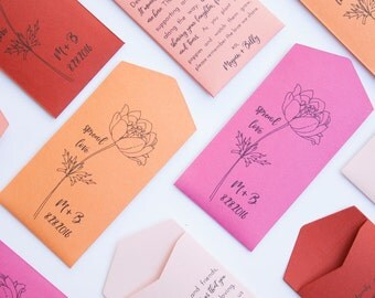 Poppies Personalized Seed Packet Wedding Favors - Poppy Seed Packet Envelope Favor - Spread Love Wedding Favor - Many Colors Available