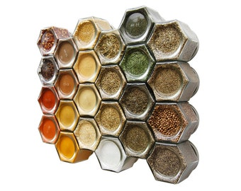 Large Organic Magnetic Spice Kit for Fridge: Includes 24 Organic Pantry Spices in Hand-Stamped Magnetic Jars (4 oz).