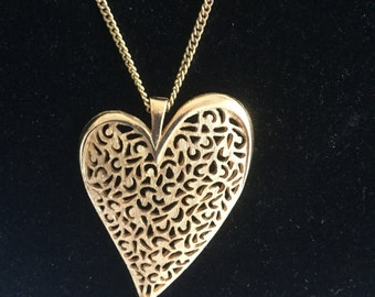 Vintage Emmons Valentines Day Large Heart Necklace