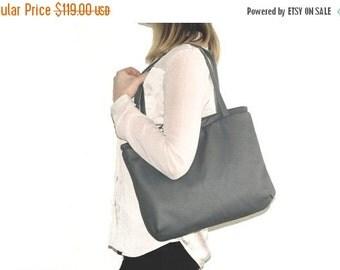 SALE Minimalist shoulder bag, womens work purse, leather LAPTOPTOTE bag, grey leather handbag, womens office leather bag, spring fashion