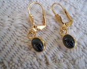 Vintage Jewelry Scarab Earrings Pierced Black Scarab  Collectible Jewelry