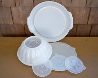 Vintage Housewares Tupperware Jello Mold with Four Different Tops and Serving Tray