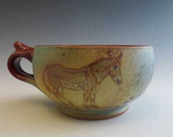 Donkeys on a Red Handled Soup Bowl