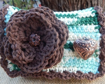 HALF PRICE CLEARANCE  ~  Crocheted Purse  ~  Brown and Variegated with Embossed Copper Heart Crocheted Cotton Little Bit Purse
