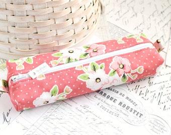 Pink Floral Pencil Case Floral Boxy Pouch Pink Floral Print
