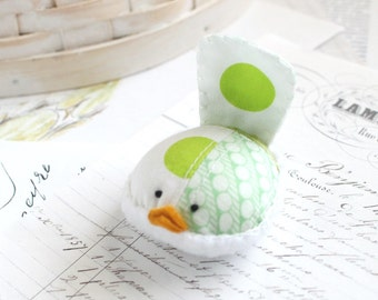 Lime Green Bird Pincushion Polka Dot Pin Keep Small Pin Cushion Green Handmade Pincushion