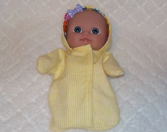 8LCHS-64) 8 inch Lil Cutesies Berenguer baby doll clothes, 1 flannel hooded sleeper with panties