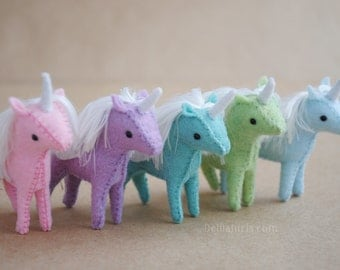 Miniature Stuffed Unicorn Plush * Custom Made To Order *  Kawaii Unicorn Pegasus Alicorn, Mini Felt Stuffed Animal