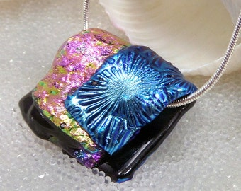 Dichroic Glass Pendant, Fused Glass Necklace, Kiln Formed Dichroic Glass, Art Glass Bead, Focal Bead