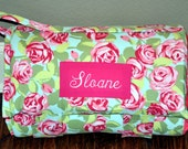 Nap Mat - Monogrammed Love Tumble Roses in Pink Nap Mat with a Watermelon Minky Dot Blanket