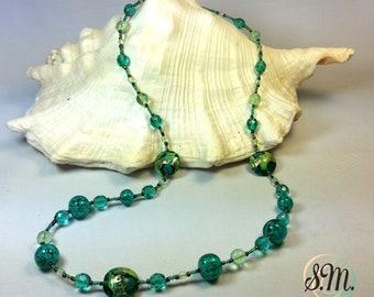 Green Murano glass Necklace Gustav klimt style