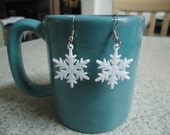 Medium White, Glittery Plastic Snowflake Earrings