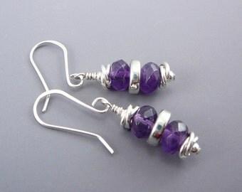 Amethyst Drop Earrings, February Birthstone Jewelry, Purple Earrings, Amethyst Jewelry, Best Gift for Women, Smart Jewelry, Cool Earrings